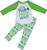 Girls 2 Pieces Shirt Set Long Sleeve Pinch Proof Legging Pant Clothing Set Green 2T XS (101337PROOF)