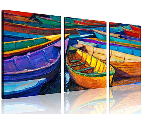 TutuBeer Colorful Fishing Boats on The Beach Modern Abstract Landscape Vivid Sailing Wall Art Sailboat Beach Pictures Boat Wall Art Painting on Canvas Framed Ready to Hang Home Decor 12x12 inch 3pcs