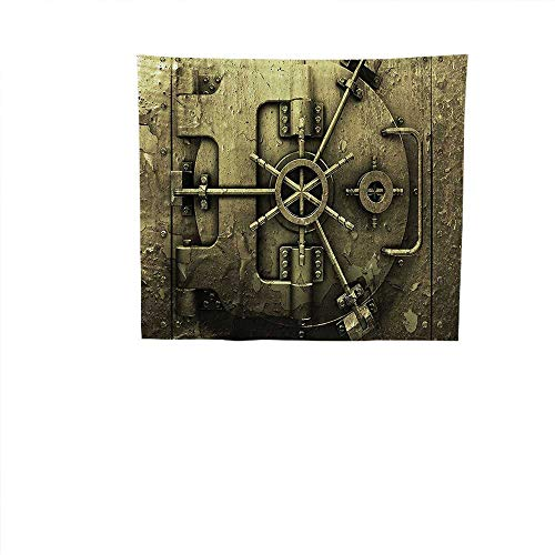 Home Decor (23W x 23W Inch Tapestry Wall Hanging Art for Living Room Bedroom Dorm Home DecorRustic Decor Grunge Style Bank Vault Illustration Safe Secure Precious Treasure Protection Image Pritn DAR