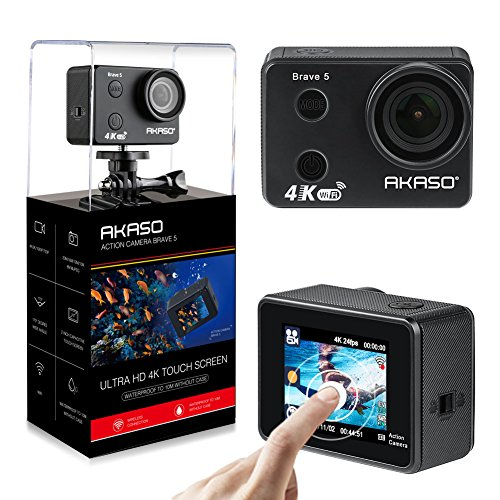 AKASO Brave 5 4K Touchscreen Waterproof WiFi Action Camera 4K Ultra HD 20MP 10M ...
