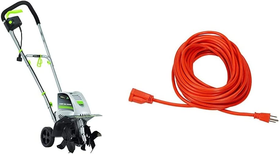 Earthwise TC70001 11-Inch 8.5-Amp Corded Electric Tiller/Cultivator & AmazonBasics 16/3 Vinyl Outdoor Extension Cord | Orange, 50-Foot
