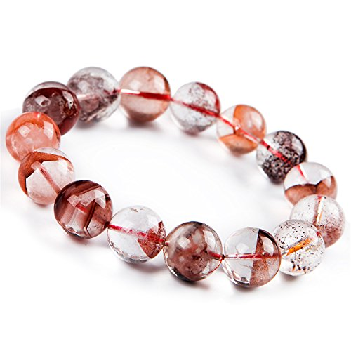 LiZiFang Natural Red Phantom Quartz Crystal Round Bead Stretch Bracelet 16mm
