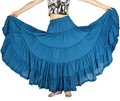 - YSJ Women's Cotton 5 Tiered A Line Pleated Maxi Skirt Long Dance Swing Skirts 37.5-inch (One Size, Blue)