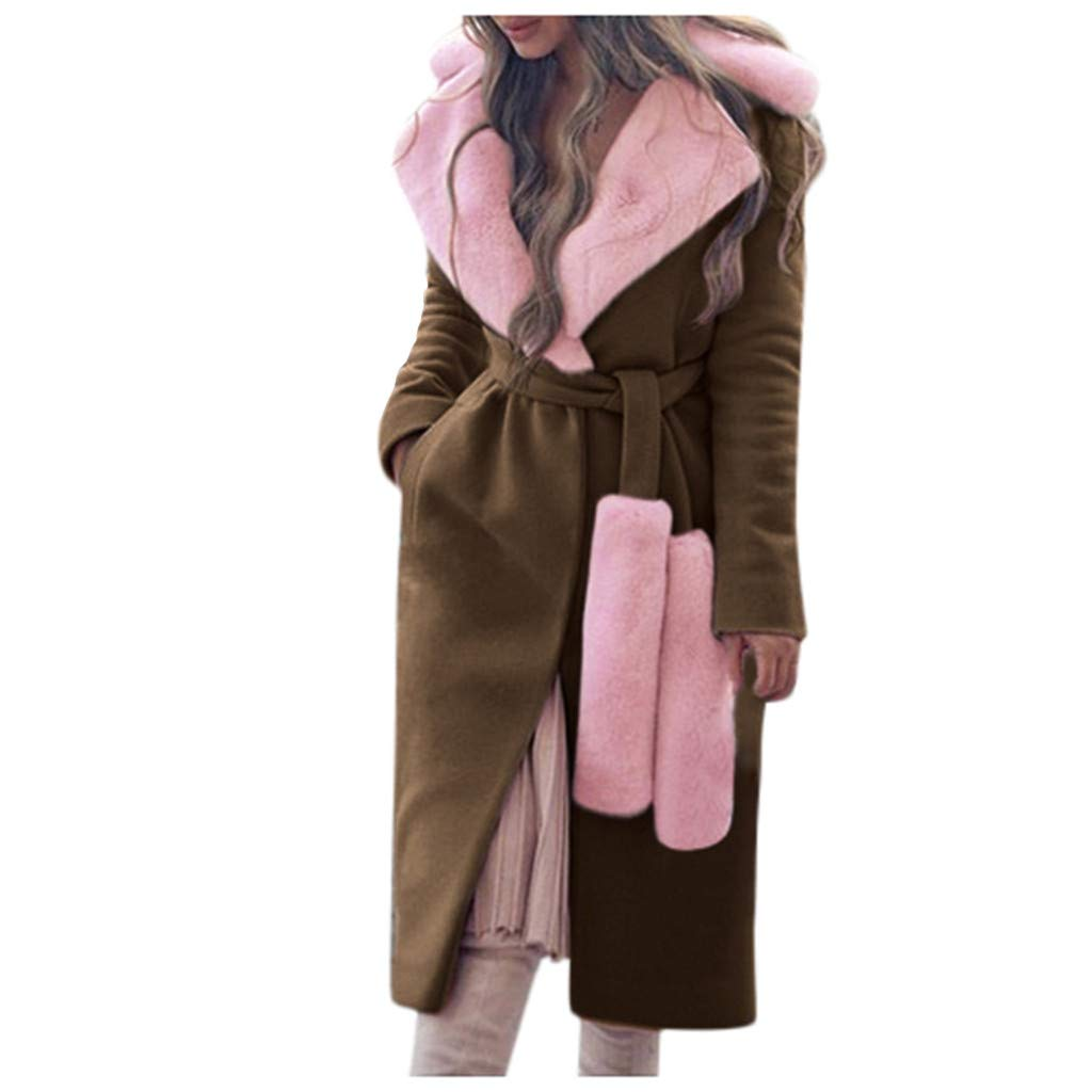 TIFENNY Pink Outcoat for Women Winter Warm Outwear Women's Fashion Thicken Turn-Down Collar Woolen Coat with Collar by TIFENNY