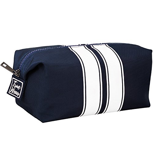 Toiletry Bag Shaving Dopp Kit for Men Navy Blue with White stripes – Stylish Unique Travel Organizer Wash Bag - Modern design
