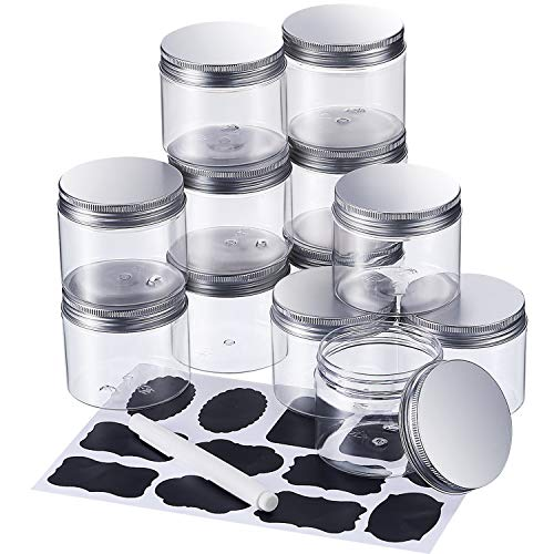 Pangda 12 Pack Empty Clear Plastic Slime Storage Favor Jars Wide-Mouth Plastic Containers with Silver Metal Lids and Labels Pens for Beauty Products, DIY Slime Making or Others(6 Oz) (Mason Globe Jar Snow)