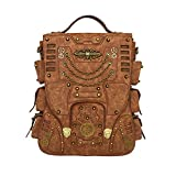 Casual Retro Gothic Leather Backpack Steampunk Travel Bags Big Capacity Hiking Rucksack for Men Women Halloween Gift