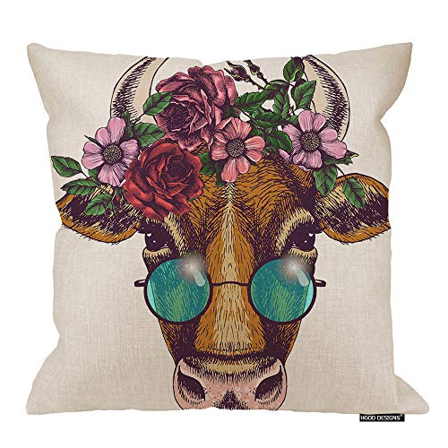 (HGOD DESIGNS Cow Square Pillow Cushion Cover,Cow Portrait with Floral Wreath and Round Sunglasses Art Animal Cotton Linen Cushion Covers Home Decorative Throw Pillowcases 18x18inch)