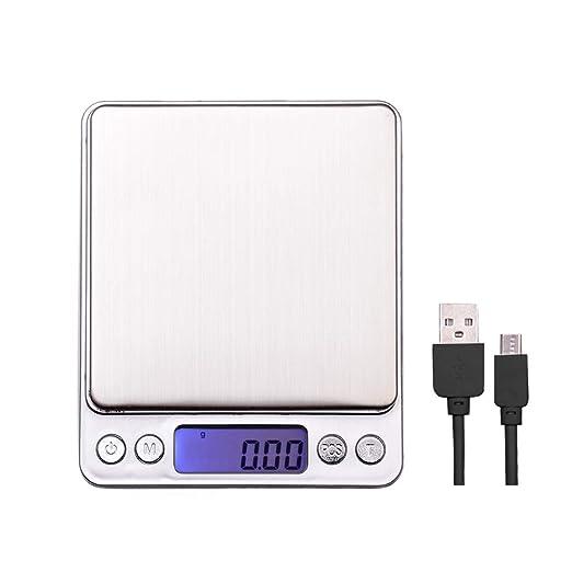 Báscula Cocina Digital con Carga USB,Báscula Cocina Precisión 500g/0.01go 3000g/0.1g Balanza de Cocina Acero Inoxidable, Multifunción Balanza de ...