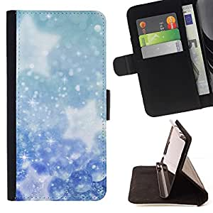 DEVIL CASE - FOR Samsung Galaxy S6 EDGE - Winter Snowflakes Snow Stars - Style PU Leather Case Wallet Flip Stand Flap Closure Cover