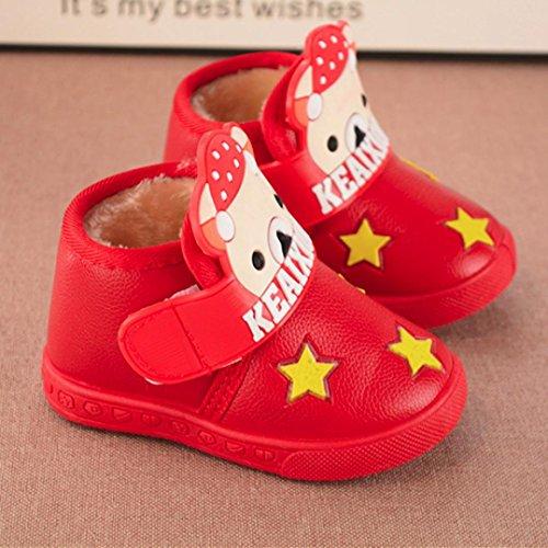 Clode® Baby Fashion Sneaker Kind Mädchen Jungen Cartoon Brief Leder Boot Warme Schuhe Rot