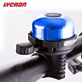 LYCAON Bicycle Bell 8 Colors Mini Aluminum Alloy Bike Ring Loud Crisp Clear Sound Horn Bike Accessories for Scooter Cruiser Ebike Tricycle Mountain Road Bike MTB BMX Electric Bike (Blue)