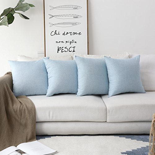 HOME BRILLIANT Supersoft Burlap Linen Square Throw Pillows Sham Cushion Covers for Kids, Light Blue, 45cm, 4 Pack