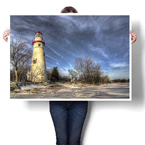 SCOCICI1588 Canvas Wall Art The toric Marblehead Lighthouse in Northwest Ohio Sits Painting,48