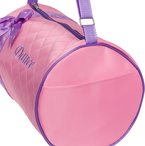 Silver Lilly Girls Dance Bag - Quilted Duffle Bag w/Lavender Bow (Light Pink) by Silver Lilly (Image #2)'