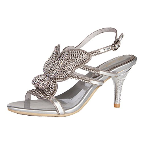 Win8Fong - Zapatos de tacón  mujer Silver # 2