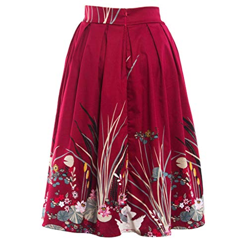 Sunhusing Ladies Retro Style Landscape Picture Small Floral Printed Mini Pleated Skirt Ruched A-Line Skirt Red