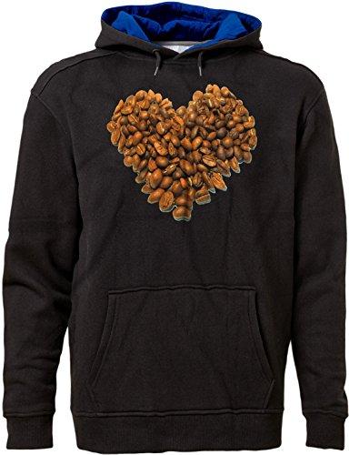 (BSW Men's Coffee Heart Shape Beans Java Love Premium Hoodie 4XL Blk/RYL)