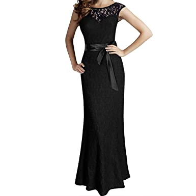 Veiai Womens Sexy Casual Summer Evening Dress Lace Prom Dresses Long UK