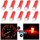 97 dodge ram 1500 dash parts - cciyu 10pcs T5 Red 58 70 73 74 Dashboard Gauge 1-SMD 5050 LED Wedge Lamp Bulbs Lights Replacement fit for Dashboard instrument Panel Light Bulbs LED Lamps