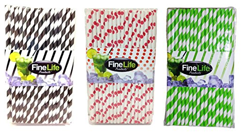 Festive Paper Party Drinking Straws 150 Count Black Lime Green and Red Stripe Polka Dot