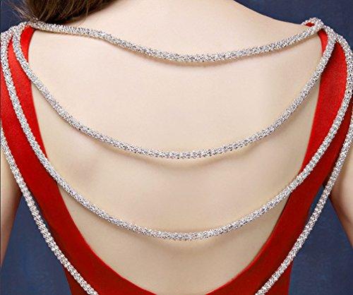 Maxi cadena del Rhinestone de O-cuello barrer del tizón de Corte Sirena sin mangas con cordón Nupcial del partido de fin de curso del vestido de Funcionamiento de la boda de color rojo, Tamaño 38