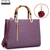 MMK collection Fashion Bamboo handle Handbag for Women with Free Key Chain` Signature fashion Designer Purse~ Beautiful Designer Purse & Women Satchel Purse (MA-17-2575-Purple)