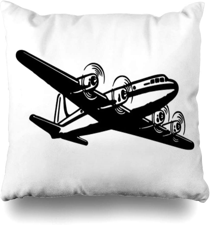 Ahawoso Throw Pillow Cover Square 20x20 Inches Advertising Airplane 50S Retro Scalable Graphics Flying Travel 1940S Ad Airplanes Planes Vintage Decorative Pillowcase Home Decor Cushion Pillow Case