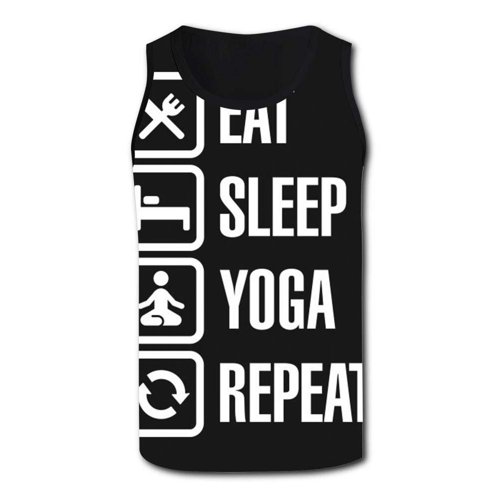 Gjghsj2 Mens Tank Top Eat Sleep Yoga Repeat Vest Shirts Singlet Tops Sleeveless Underwaist Walking