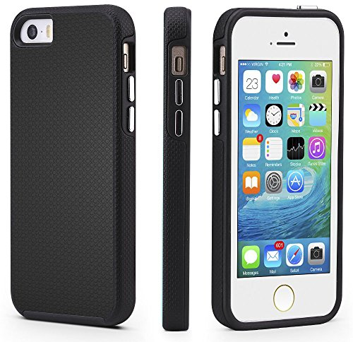iPhone 5/5s/SE Case, CellEver Dual Guard Protective Shock-Absorbing Scratch-Resistant Rugged Drop Protection Cover For iPhone 5/5S/SE (Black) Black Silicone Phone Case Cover