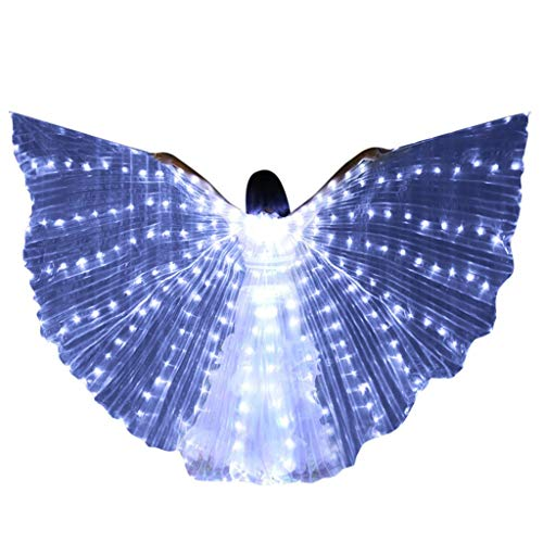 MURTIAL LED Butterfly Wings Belly Dance Costumes Glowing Performance Clothing with Telescopic Stick White ()