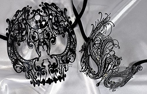Lovers Collection Men Women Couple Black B6 Combo Cut Venetian Masquerade Mask Event Party Ball Mardi Gars Halloween -