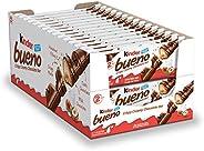 Kinder Bueno Milk Chocolate and Hazelnut Cream Candy Bar, 30 Packs, 2 Individually Wrapped 1.5 Oz Bars Per Pac