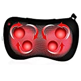 Massage Pillow/Back Massager/Shiatsu Electric Massager with Heat, 4 Deep Kneading Nodes to Relieve Shoulder, Neck, Back,Waist, Arms, Foot Pain, Portable Body Massage for Home Car Office, Black-Feagar