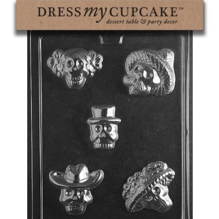 Dress My Cupcake Chocolate Candy Mold, Day of The Dead Skulls, Halloween -