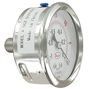 """Dwyer 2.5"""" SS Industrial Pressure Gage, SGZ-D11042N-GF, Back Connect, 0-300 psi, Glycerin Filled"""