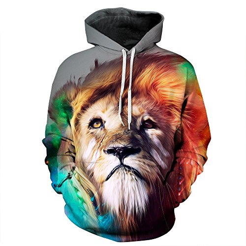 LDENXIN Galaxy Lion Watercolor 3D Print Unisex Hooded Sweatshirt Couple Hoodies Unisex Pullover Hoodie Warm/Casual/Sport Sleeve With Pocket - Uni Discount Student