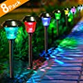 Solar Lights with 7 Color Changing Pathway Outdoor Garden Stake Glass Stainless Steel Waterproof Auto On/off Sun Powered Landscape Colorful Lighting Effect for Yard Patio Walkway In-Ground Spike
