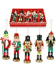 """Wjiang 5 Packs Wooden Nutcracker Soldiers, 5"""" Tall Nutcracker Christmas Decorations, Nutcracker Figures Soldier Hanging Ornaments for Christmas Holiday Home Decoration Gift"""