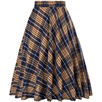 Kate Kasin Women's A-Line Vintage Skirt Grid Pattern Plaid KK633/ KK495