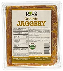 2.2 Lbs. Organic Jaggery - Pure Indian Foods(R) Brand - Known As Gur, Gud or Panela - Raw Wholesome Brown Sugar