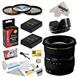 Sigma 10-20mm f/4-5.6 EX DC HSM Autofocus Lens For the Nikon D3100, D3200, D3300, D5100, D5200, D5300 - Includes 77MM 3 Piece Pro Filter Kit (UV, CPL, FLD) + Flower Lens Hood + 2 Replacement Nikon EN-EL14 Batteries 1800MAH Each 3600MAh in Total + Deluxe L