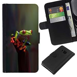 EJOY---La carpeta del tirón la caja de cuero de alta calidad de la PU Caso protector / HTC One M7 / --Reflexivo veneno Naturaleza Verde