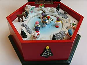 """Christmas """"Let it Snow"""" Music Box ; Ice Skating Rink Park ; 7"""" Wooden Collectible"""