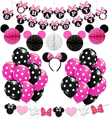 Minnie Mouse Birthday Party Supplies Decorations for Girls 1st 2nd 3rd Birthday Baby Shower -