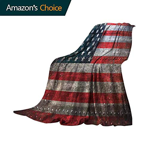 vanfan-home American Flag Personalized Blankets,Royalty Flag Textured US Backdrop on Damaged Board Plate Design Artwork Print Lightweight Plush Throws for Chair Fall Winter Spring(60