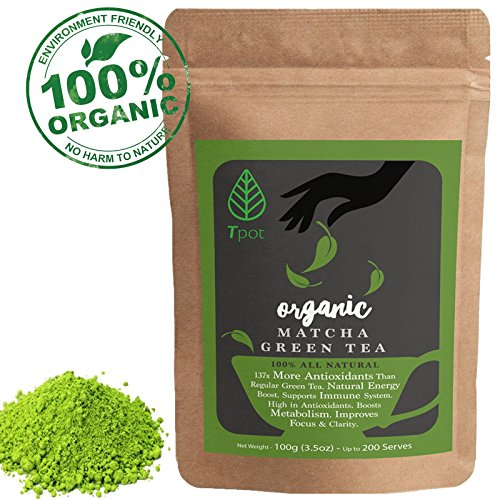 ORGANIC Japanese Matcha Green Tea Powder - CEREMONIAL GRADE Organic Matcha Green Tea Powder - Ideal for Latte, Smoothies, Baking, Ice Cream, Drink - No Sugar or Additives - 100% Natural Matcha Powder - High Quality Matcha From Japan - Up to 200 Serves 100g (3.5oz)