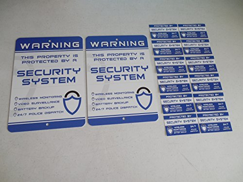 2 Home Security Alarm System Yard Signs & 12 Window Stickers - Stock # 719