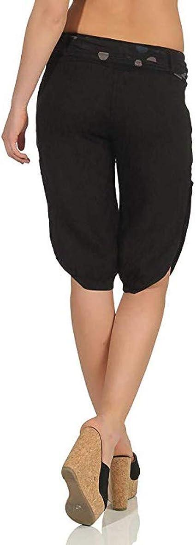 GLVSZ Women Elastic Waist Butt Lift Stretch Bermuda Shorts Plus Yoga Capris