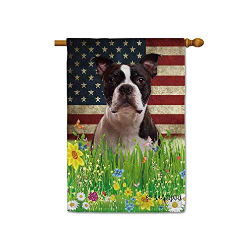 BAGEYOU Cute Puppy Boston Terrier House Flag Lovely Pet Dog American US Flag Wildflowers Floral Grass Spring Summer Decorative Patriotic Banner for Outside 28x40 inch Printed Double Sided (Custom Bostons House)